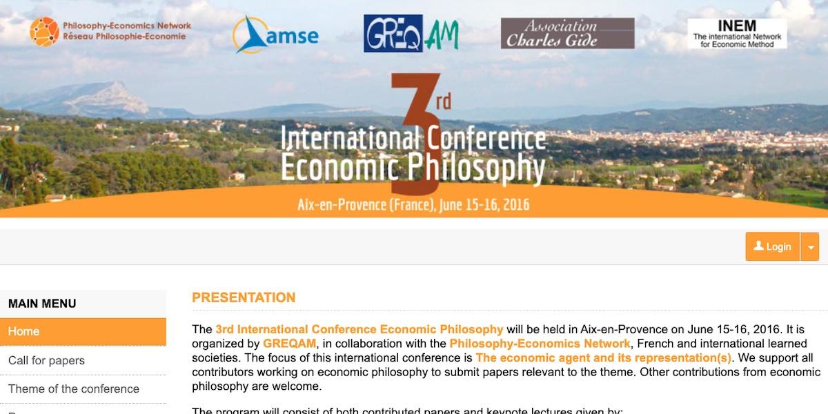 Deux contributions consacrées à Carl Menger au 3ème colloque de philosophie économique (15 juin 2016, Aix-en-Provence)